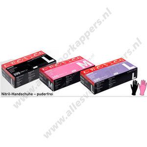 Nitril handschoenen roze poedervrij 100 stuks maat L